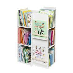 Dans cette bibliothèque multi-faces, les livres sont facilement accessibles pour les enfants. Deux porte-livres permettent de proposer des livres à votre enfant, cela permettra de varier les lectures.