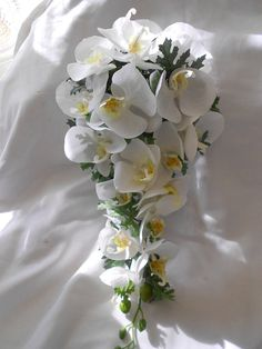 Items similar to All white orchids bridal cascade bouquet 2 pieces on Etsy Cascading Bridal Bouquets, Cascade Bouquet, Bride Bouquets, Flower Bouquet Wedding, White Orchids, White Roses, Lily Wedding, Small Bouquet, Groom Boutonniere