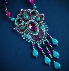 Embroidered necklace - beadwork jewelry - indian style - necklace with turquoise -  beaded necklace - necklace with  turquoise and Swarovski by suzidesign. Explore more products on http://suzidesign.etsy.com