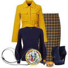 Blue & Yellow by jayhawkmommy on Polyvore featuring Burberry, TY-LR, Pure Collection, Alexander McQueen, Lazuli and 1st & Gorgeous by Carolee