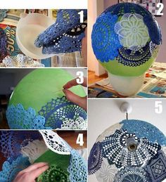 Do I dare do this with Grandma's doilies? -lampshade from old doilies and a balloon
