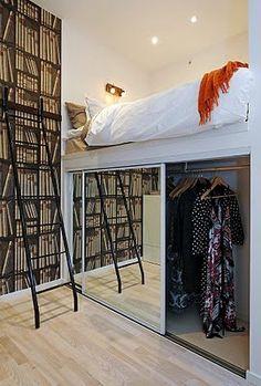 New bedroom loft bed closet Ideas Bedroom Doors, Closet Bedroom, Bedroom Storage, Bedding Storage, Ikea Closet, Bed In Closet, Loft Beds For Teens, Adult Loft Bed, Small Rooms