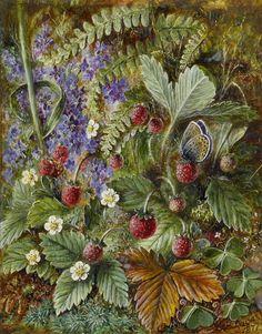 Albert Dürer Lucas 'Wild strawberries and a butterfly (Veronica Fern and moss)' 1877 oil on ivory | Albert Dürer Lucas [English painter of still-life and flowers 1828-1918]