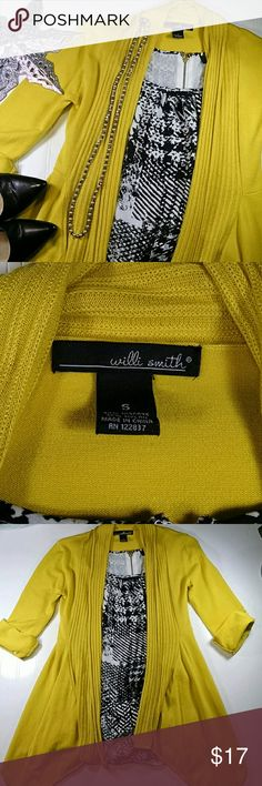 Willi Smith cardigan Bright yellow open cardigan with shark bite hem, 3/4 length sleeves that can be rolling shorter and secured with a button. Viscose/nylon. Excellent condition. Sz small Willi Smith Sweaters Cardigans