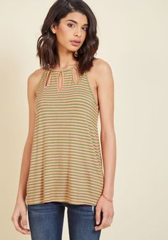 <p>This jersey knit tank takes the concept of cutouts and capitalizes on their chicness! Part of our ModCloth namesake label, this soft knit style pairs its sextet of almond-shape keyholes with ivory and muted navy stripes, making a statement with a casual spin.</p>