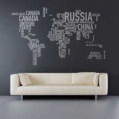 ic dekorasyon siyah duvar kagidi dunya haritasi