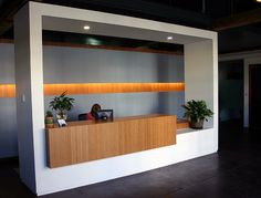 Elevate your office reception desk with amber grain Plyboo bamboo!