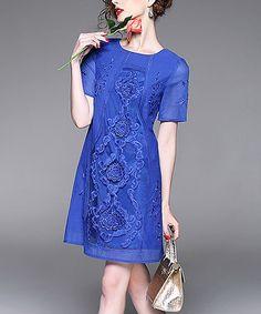 Another great find on #zulily! Blue Embroidered Silk Sheath Dress #zulilyfinds