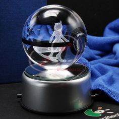 Best Price Nice Fashion Mewtwo Pokemon Engraving Crystal Ball With LED Base Christmas Gifts