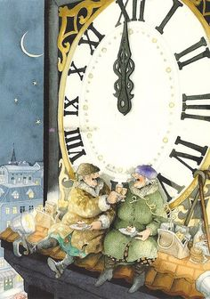 """""""Inge, Look! It's Midnight! Another New Year And We're Still Alive!"""" ~ Inge Look. Old Lady Humor, Old Women, Getting Old, Happy New Year, Illustrators, Illustration Art, Old Things, Unusual Things, Prints"""
