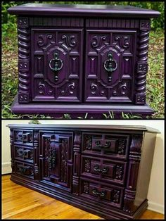 Gothic Purple Bedroom Furniture be sure to check us out on Fb www.Facebook.com/uniqueintuitions1 #uniqueintuitions #gothic #gothicfurniture