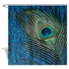 Navy Blue Peacock Shower Curtain for