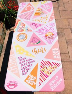 dm for credit fatmoodz Beer Table, Beer Pong Tables, Diy Table, Cute Canvas Paintings, Small Canvas Art, Diy Canvas Art, Sorority Canvas Paintings, Pintura Hippie, Cooler Painting