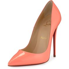 Christian Louboutin So Kate Patent 120mm Red Sole Pump (35,525 DOP) ❤ liked on Polyvore featuring shoes, pumps, heels, christian louboutin, sapatos, flamingo, patent pumps, red sole pumps, pointy-toe pumps and red sole shoes