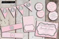 Really cute pink and gray baby shower printable party pack by PaperCut Cards
