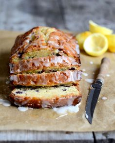Lemon Blueberry Drizzle Bread - probably the best sweet bread I've ever made. I Love Food, Good Food, Yummy Food, Tasty, Slow Cooking, Cooking Recipes, Blueberry Bread Recipe, Blueberry Loaf, Croissants