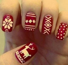 Holiday Nail Art Designs to Try This Week Paint your nails red and white this December.Paint your nails red and white this December. Holiday Nail Art, Christmas Nail Designs, Winter Nail Art, Christmas Design, Chrismas Nail Art, Holiday Mood, Holiday 2014, Holiday Makeup, Holiday Style