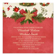 Vintage Christmas Ribbon Star Wedding Invite