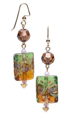 Earrings with Lampworked Glass Beads and Swarovski Crystal Beads