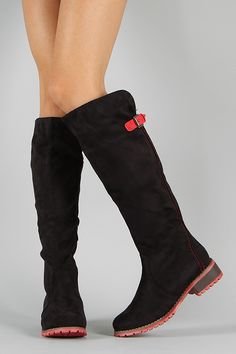 LE-15 Buckle Round Toe Riding Knee High Boot Black $35.90