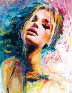 Colorful #art Beautiful woman #watercolor