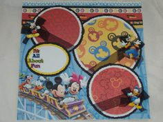 Disney Mickey Minnie Mouse Roller Coaster 12x12 Premade Scrapbook Page by KARI on Etsy, $9.99