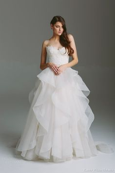 karen willis holmes bridal 2015 bespoke strapless wedding dress selena guipure lace bodice tulle layered skirt