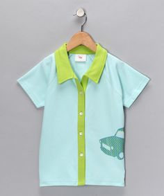 Blue Car Organic Button-Up