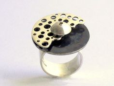 Hand made rotary ring round shape perforated unit swivel ring silver oxidized woman modern handmade 80.00 EUR #goriani
