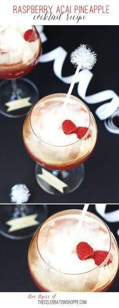 Raspberry Acai Pineapple Cockail or Mocktail | Kim Byers, TheCelebrationShoppe.com #girlsnightin #trop50