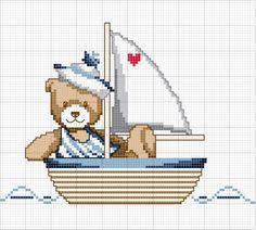 Kanaviçe denizci ayıcık mini tablo