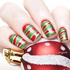 Red, Green, and Gold Christmas Nail Art
