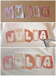 Free tutorial to do funny t-shirts for kids. Sewing Appliques, Applique Patterns, Applique Designs, Quilt Patterns, Sewing Patterns, Sewing Crafts, Sewing Projects, Diy Tops, Quilting
