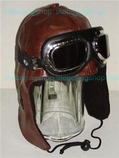 Vintage Pilot Hat Style PU Leather Motorcycle Hood