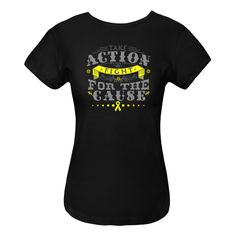 Take Action Fight For The Cause Endometriosis Women's Fitted T-Shirts featuring a unique text design with a yellow ribbon to make an impression for awareness #endometriosisawareness #endoawareness
