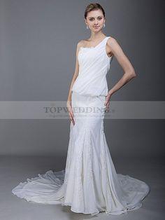 Virgilia - Robe de mariée de colonne à une épaule en mousseline de soie 0113954