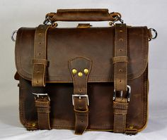 "Classic Briefcase 14"" 16"" Double-space – Marlondo Leather Co"