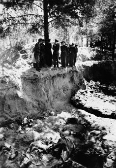 Mass grave in the forest: In the spring of 1940 the NKWD killed 20,000 POW's (Polish officers and civilians) in the forests of Katyn near Smolensk. In April 1943 the mass grave was discovered by the Wehrmacht. After the Russian victory they concluded that the attrocities were committed by the Germans. In 1990 Michail Gorbatschow admitted that the murders were committed by the Russians.