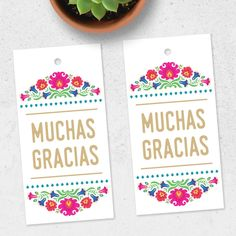 """Cute and colorful """"Muchas Gracias"""" tags!"""