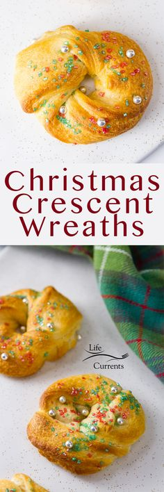 Christmas Crescent Wreaths are easy and fun to make with the kids. And they taste delicious for a special treat! It doesn't get cuter than that! You could even leave the sugar sprinkles off of them and serve them as bread with Christmas dinner.