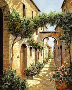 Tuscany Landscape Art - Passando Sotto Larco by Guido Borelli Tuscany Landscape, Landscape Art, Landscape Paintings, Watercolor Paintings, Art Paintings, Landscapes, Italian Painters, Italian Artist, Pintura Exterior