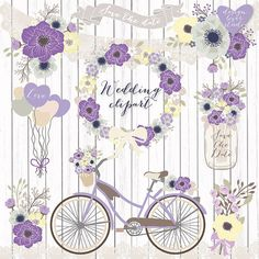 Premium VECTOR Rustic Wedding Clipart Bicycle Shabby Chic Clipartwedding