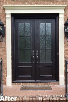 Customize your front or patio entrance with a Clark Hall exterior door. From modern to traditional, our custom made iron doors transform the design of any home. Check out our inspiration page for before and after photos and ideas. Front Porch Railings, Custom Exterior Doors, Exterior Door Designs, Front Door Colors, Front Doors With Windows, Glass Front Door Privacy, House With Porch, Doors, Front Door Makeover