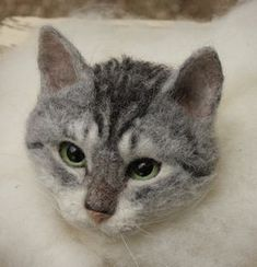 Felted cat head #feltedcat