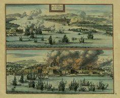 The Ducth attacking and burning Palimbang/Palembang circa 1729.