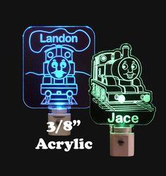 "Thomas the Train Night Light, Kids night light, Nursery light, Laser engraved 3/8"" clear Acrylic, #thomasthetankengine #train #kids #kidsgift #nurserynightlights #nurserydecor #baby"
