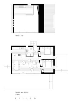 floor plans of the modern cabins at the Hölick Sea Resort B.P Note - Bathroom would be a pantry with washer and dryer, second bedroom would be a bathroom with a closet Small Floor Plans, Cabin Floor Plans, Small House Plans, The Plan, How To Plan, Granny Pods, Resort Plan, Backyard Cottage, Basement Layout