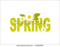 Decorated Fresh Green Spring Typography - stock vector