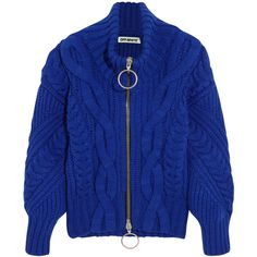Off-WhiteCable-knit Wool-blend Cardigan ($1,100) ❤ liked on Polyvore featuring tops, cardigans, royal blue, zip cardigan, royal blue turtleneck, cable knit cardigan, chunky cable knit cardigan and drape cardigan