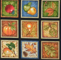 Beautiful Fall Panel, Shades of Autumn, 28 Pictures, RJR Fabrics